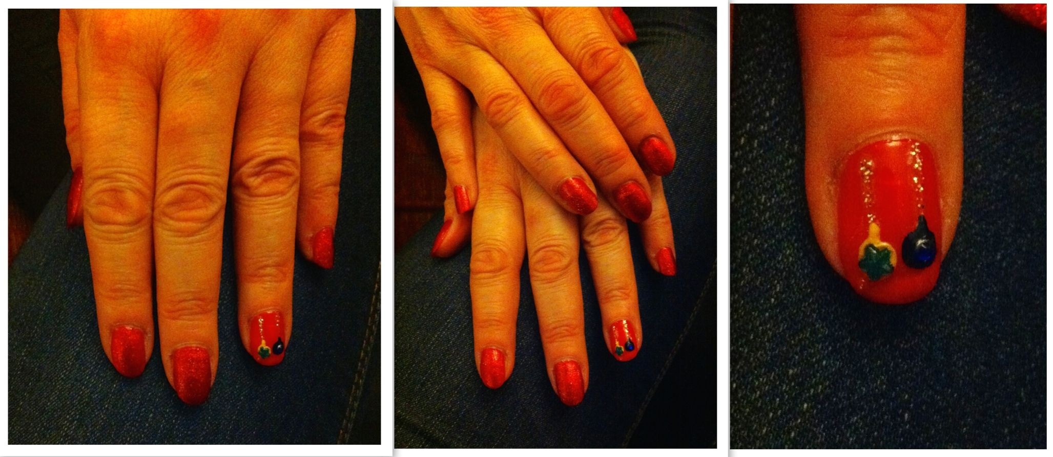 Red manicure finished with red sparkle top coat.  Feature nail has two baubles finished with coloured gems in the centre.
