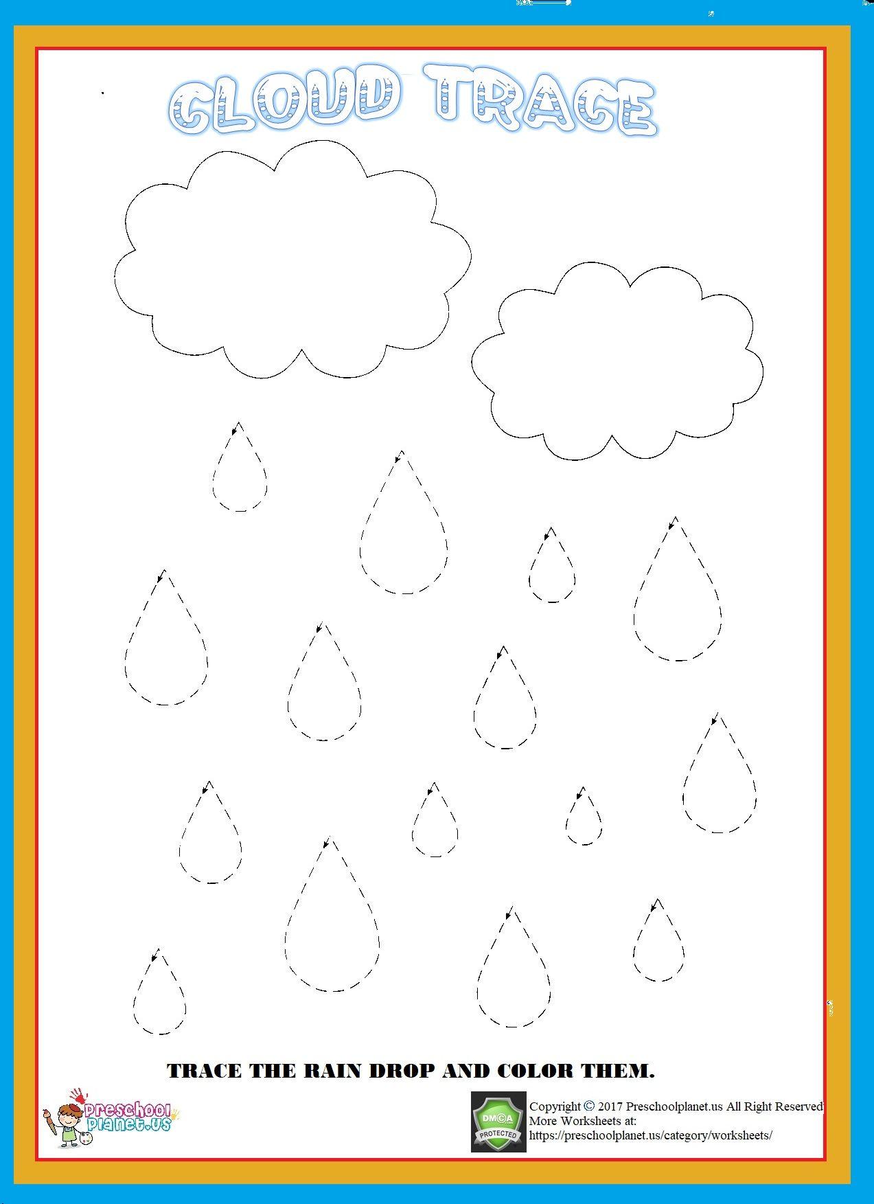 Cloud Trace Worksheet Worksheets For Kids Pattern Worksheets For Kindergarten Worksheets