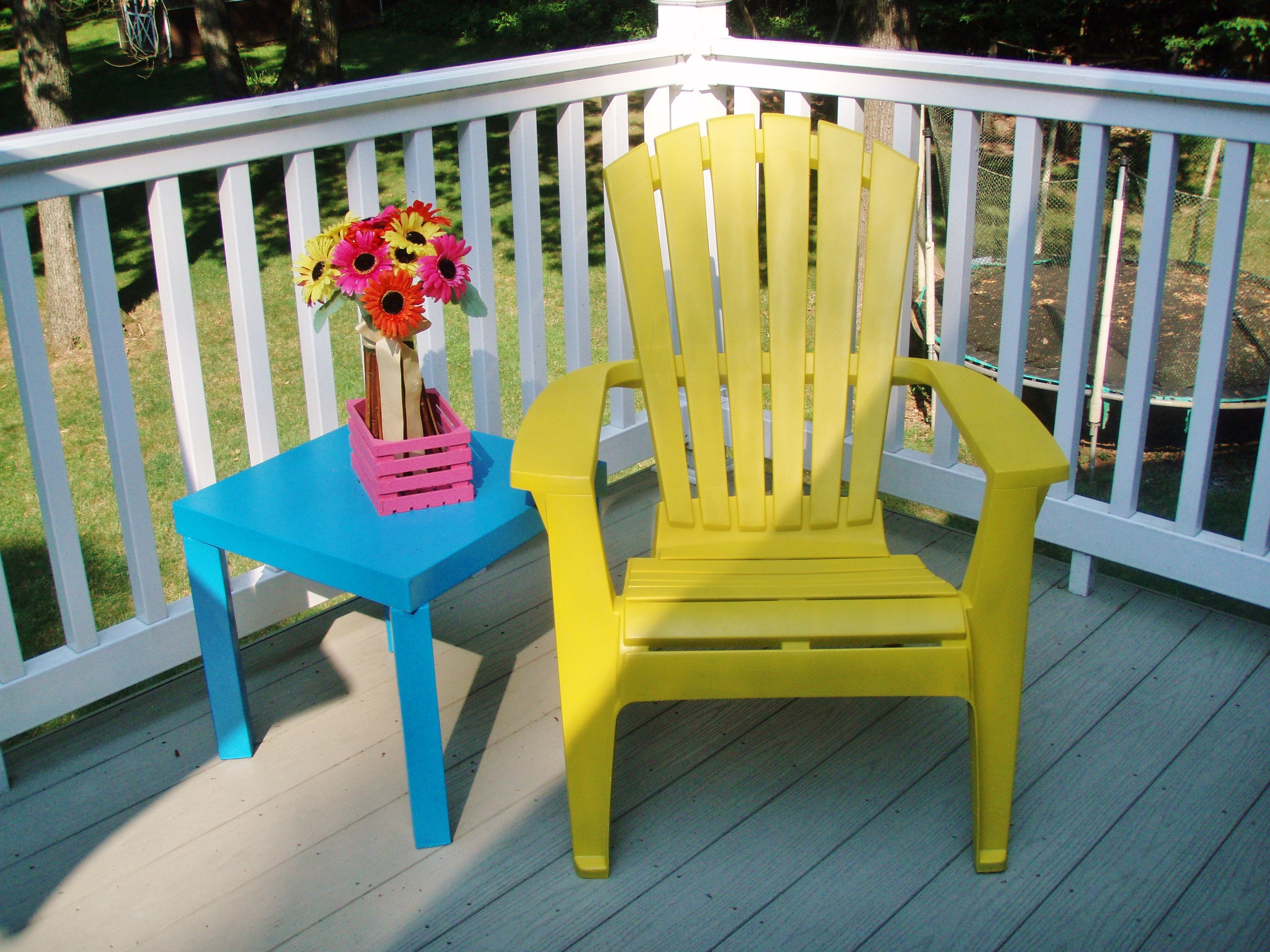 This adirondack chair started out as grey. Krylon Fusion