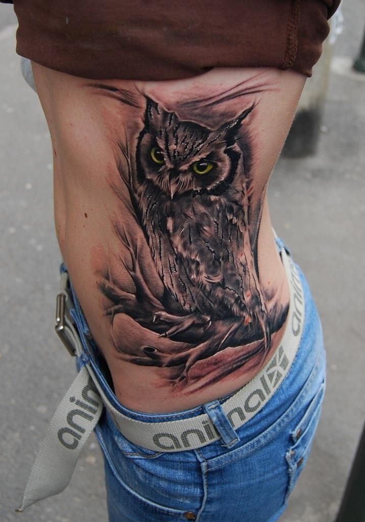 Awesome Owl Tattoo Owl Tattoo Feather Tattoo Design Side Tattoos