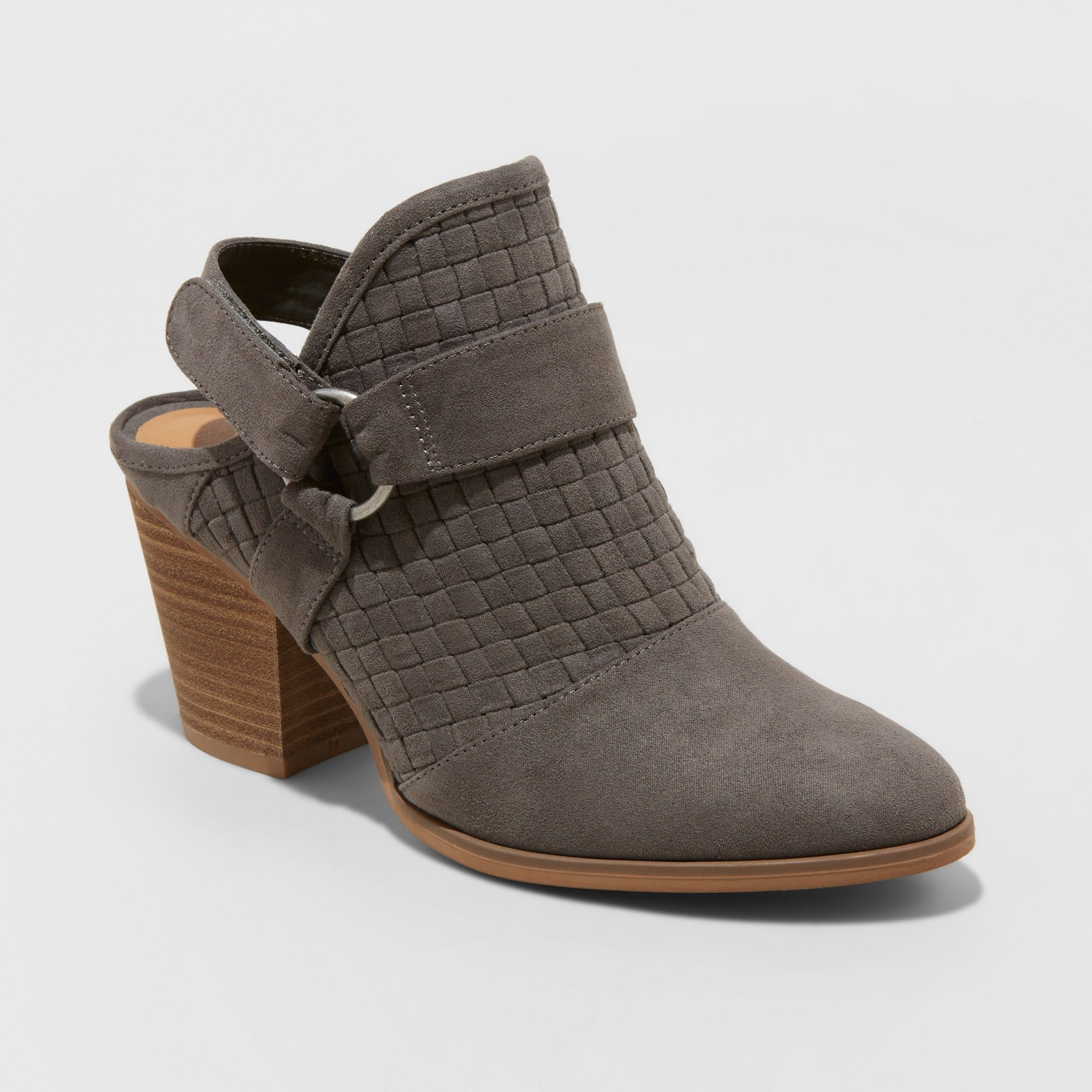 Women/'s Olive Back Strap Heeled Bootie Brown Universal Thread Taupe