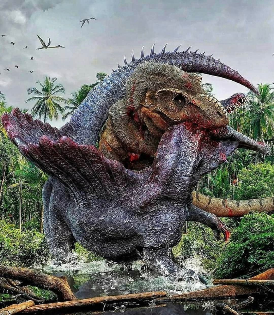 "Love Godzilla and Dinosaurs on Instagram: ""The battle that made history... . . Artist(Herschel Hoffmeyer) . . #paleo #paleoart #paleoanthropology #paleoartist #paleontology…"""