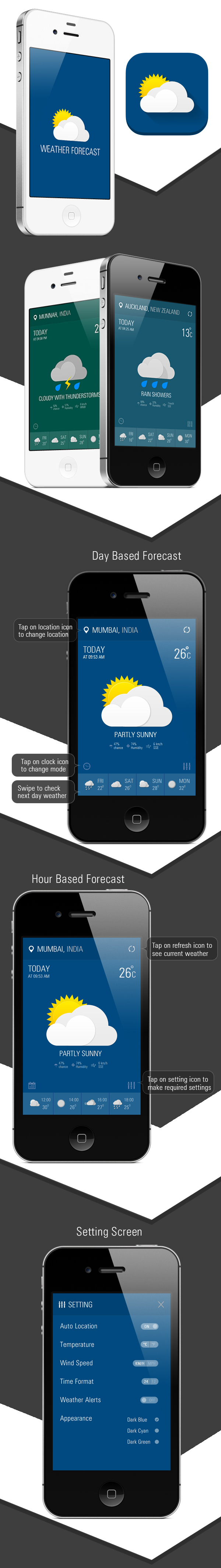 iPhone Weather Forecast App on Behance Weather forecast