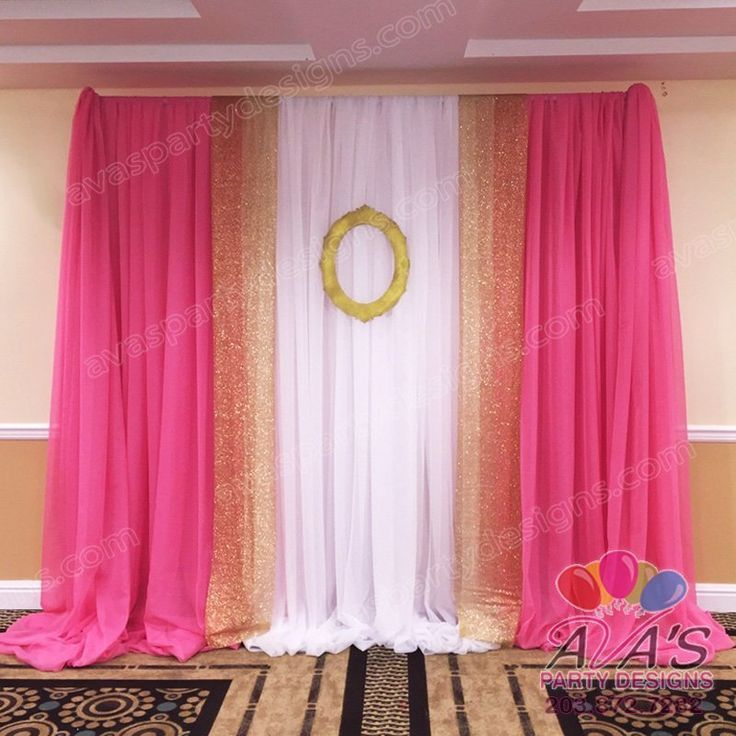 Pink And Gold Party Focal Point | Pink Gold And White Fabric Backdrop,  Draping Ideas