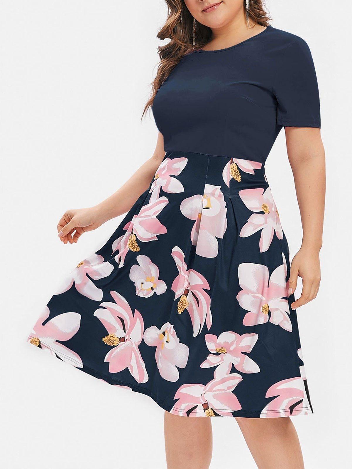 Plus Size Flower Print A Line Dress In 2020 Summer Dresses For Women Women Dresses Classy A Line Dress