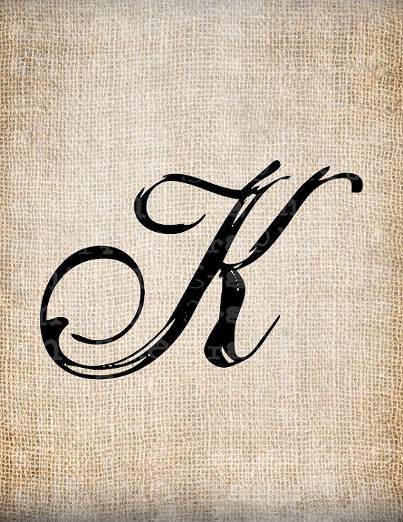 Antique Letter K Script Monogram Digital Download For Dictionary Pages Papercrafts Transfer Pillows EtcBurlap No 7533
