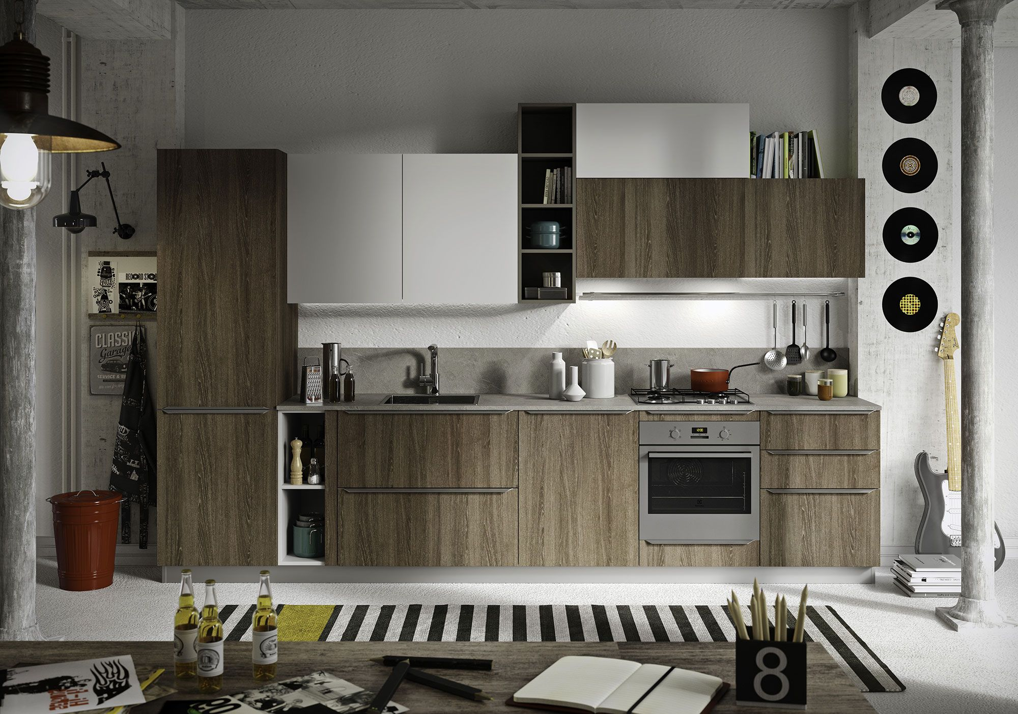 Contemporary kitchen #Feel with doors in Boston brown and soft ...