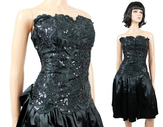 80s Mini Prom Dress Jrs XS Vintage Strapless Black Satin Sequin Gunne Sax  Short Free US 740133e4aa4b