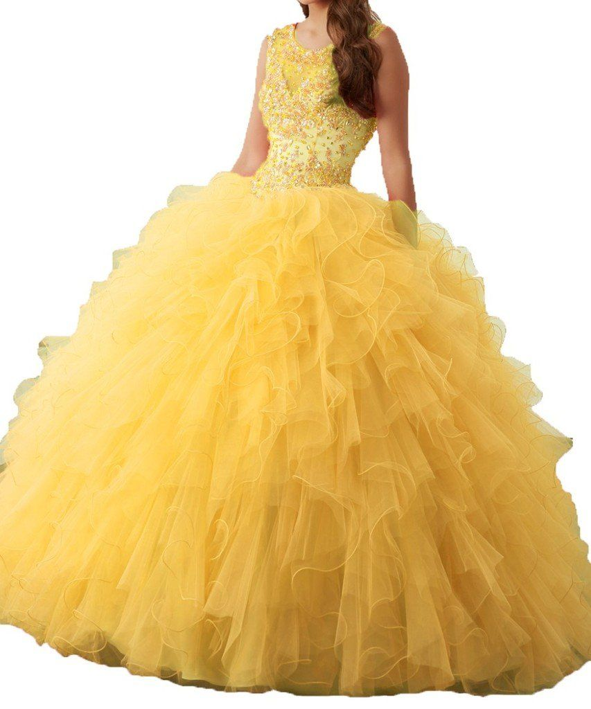 c919499344c Diandiai Scoop Beads Ball Gown Quinceanera dresses Organza Tulle Prom Dress  Yellow 16. Fabric