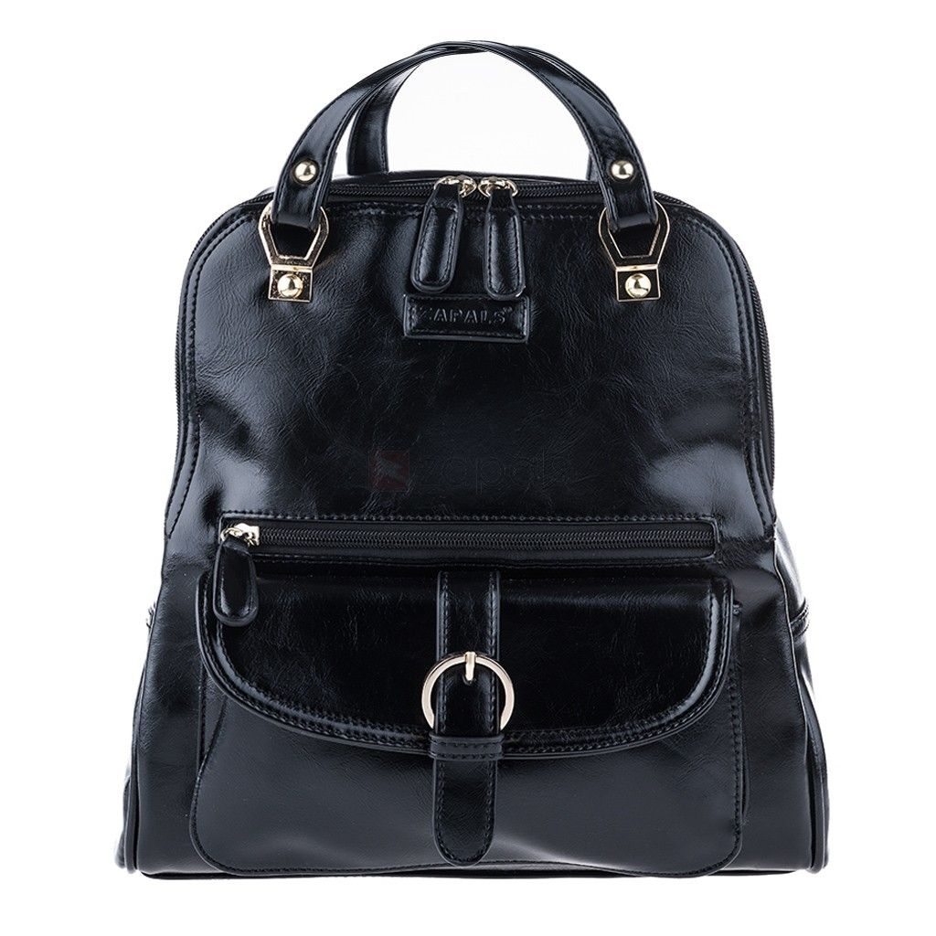 Zapals PU Leather Convertible Backpack Shoulder Bag - Black, Spacious, cool and practical, this backpack is perfect for on-the-go days. You can also wear this lovely backpack as an on-trend shoulder bag.Backpack and shoulder bag in one. Interior features a back-wall zipper pocket and 2 front-wall multifunctional slip pockets. Exterior features front zip pocket, magnetic-snap close front flap pocket and back zip pocket. Backpack straps transition over to convenient shoulder bag straps.