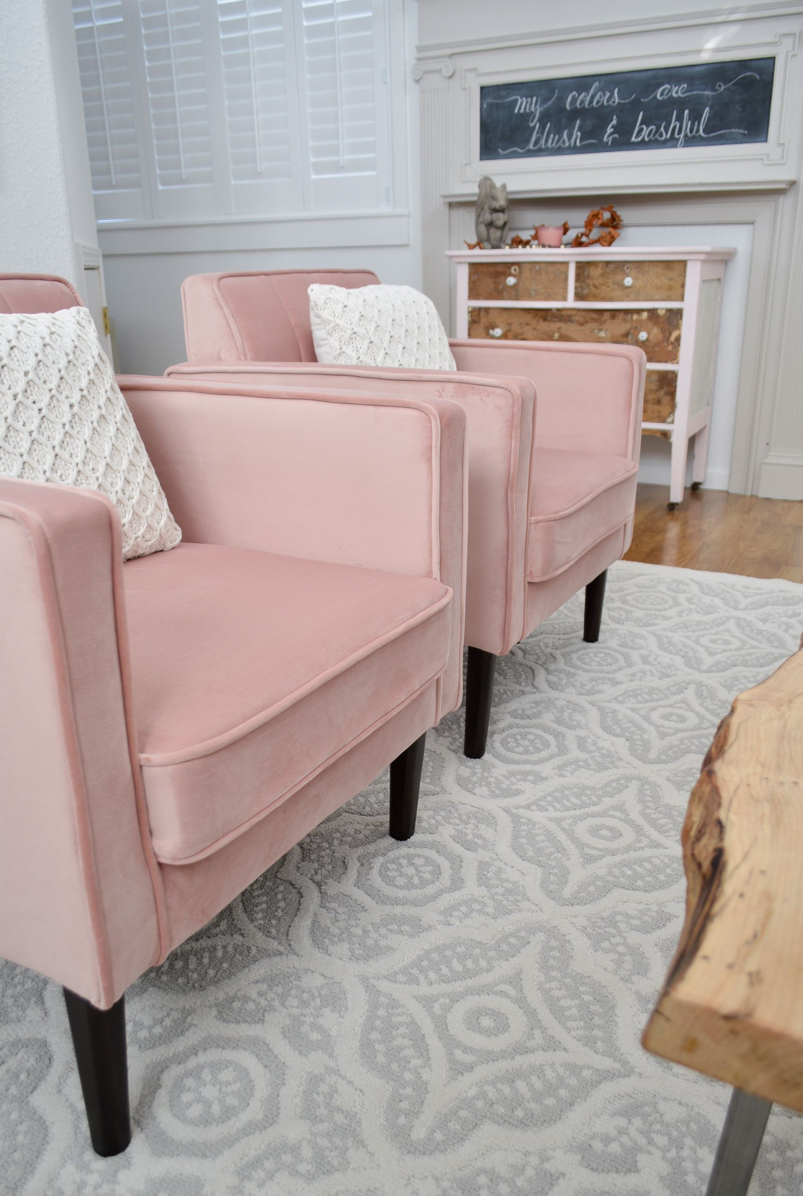 Fall Decorating Ideas To Blush Over Pink Chairs Living Room