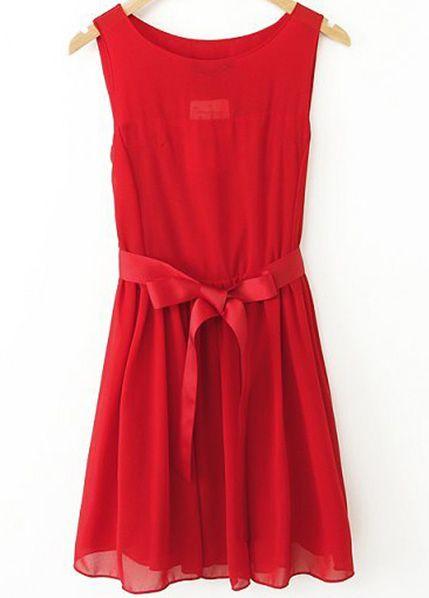 Red Sleeveless Belt Pleated Chiffon Dress US$24.95