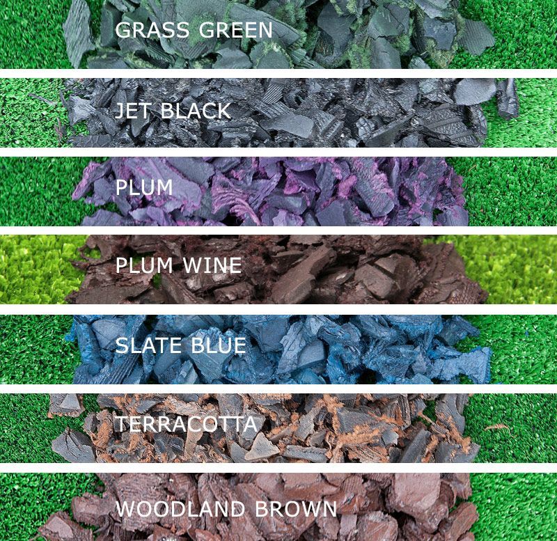 Rubber Bark Chips ~ Rubber bark chippings colour swatch yard pinterest