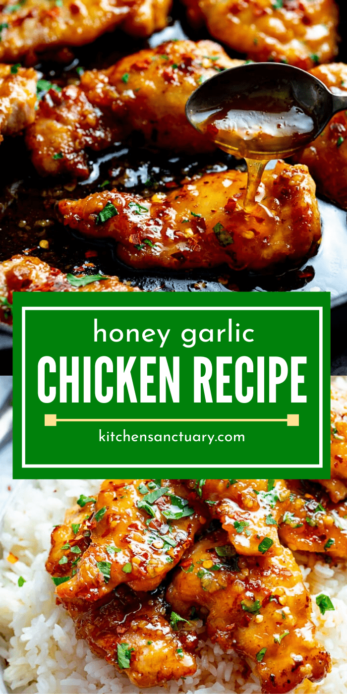 Sticky tender boneless chicken thighs in a garlic, soy and honey sauce. Minimal ingredients, simple to prepare and ready in 20 minutes! #honeygarlicchicken #honeychicken #chinesechicken #chickenthighs #garlicchicken