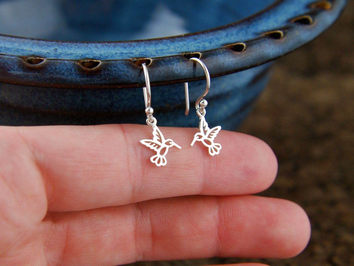 Tiny hummingbird charm earrings in sterling silver, hummingbird earrings, silver bird earrings, bird charm, tiny bird by jersey608jewelry on Etsy https://www.etsy.com/listing/79149511/tiny-hummingbird-charm-earrings-in