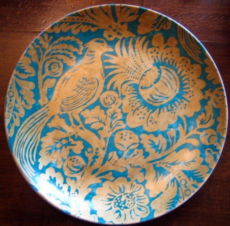 Large Shiny Gold on Teal Green Bird Leaves Exotic Flower Plate. Golden DesignPeacock ColorsDecorative ... & Large Shiny Gold on Teal Green Bird Leaves Exotic Flower Plate ...