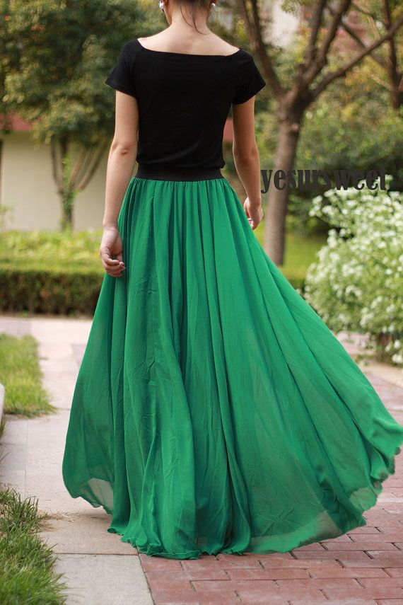 Emerald Green Maxi Skirt Custom Made Skirt High By YesURsweet $58.80 | Style And Fashion ...