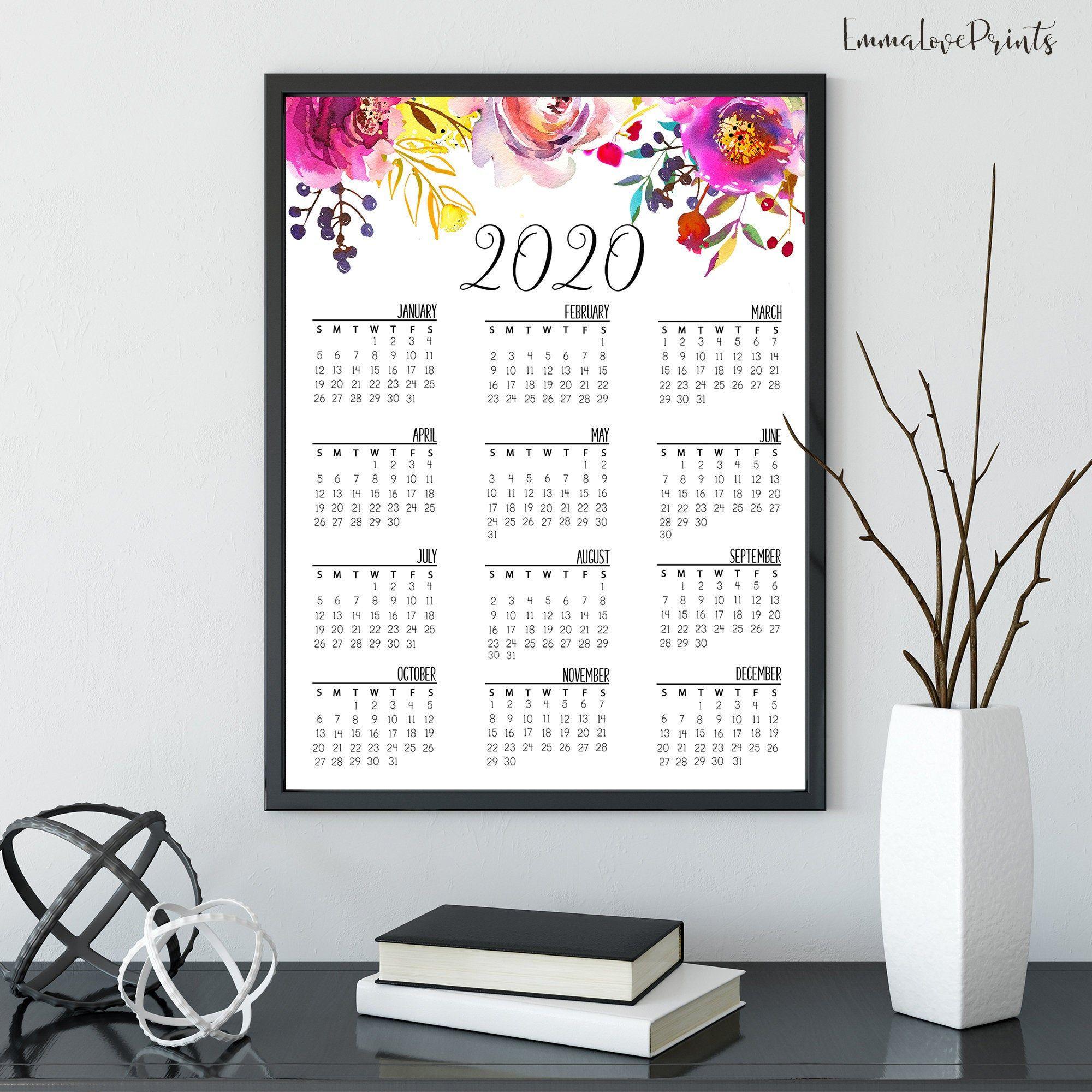 Wall Calendar 2020 Printable Calendar Floral Calendar 2020