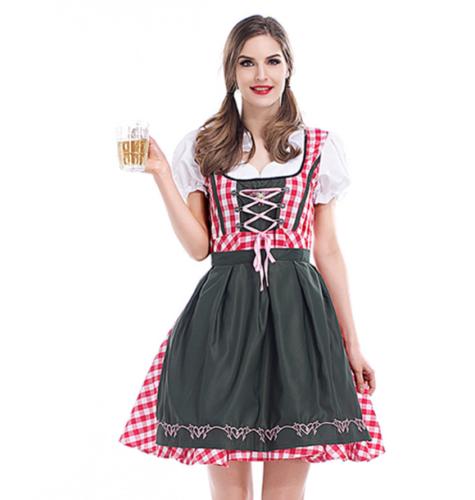 Women Oktoberfest Dress Beer Maid Girl Wench German Bavarian Dirndl Costume
