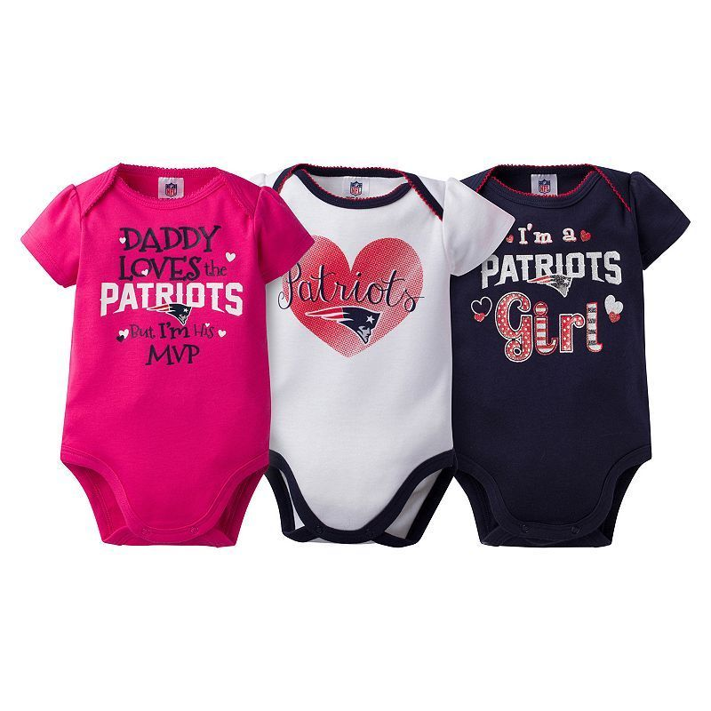 Baby Girl New England Patriots 3-Pack Bodysuits, Size: 0-3 Months, Blue