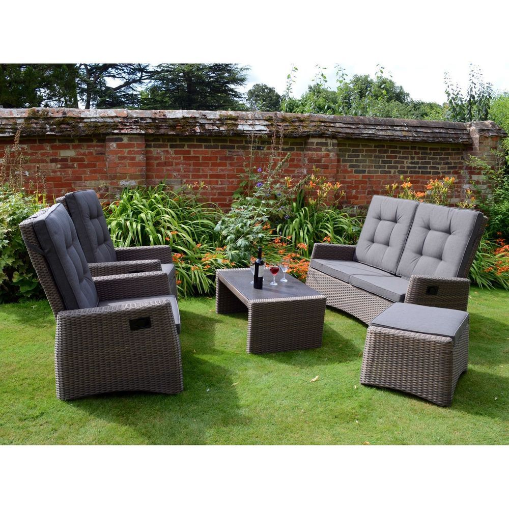Garden Rattan Sofa Set Brown Grey Aluminum Frame Glass Table