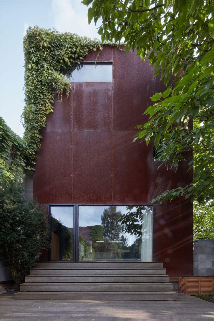 edelrostfassade cortenstahl modernes haus kletterpflanzen #interior ...