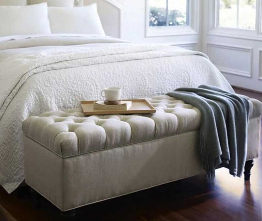 Ottomans Deacon Beige Upholstered Blanket Box: Stunning End Of Bed Bench With Storage With Beige Color