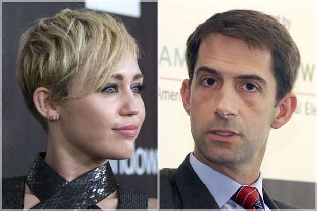 Miley Cyrus did an important thing today, she stuck her tongue out and flipped the double bird in the face of Arkansas Sen. Tom Cotton