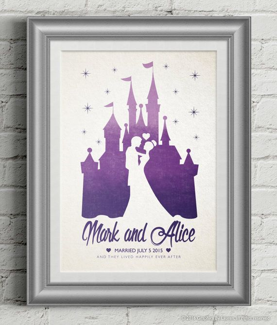 Personalised Disney Wedding Gift Bride Castle Engagement Fairytale Same
