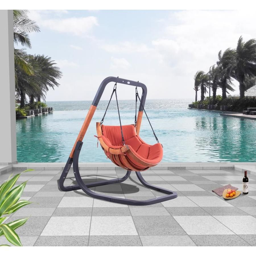 Tybori Trapezoid 1 Person Terracotta Powder Coated Gray Steel Outdoor Swing Lowes Com In 2020 Outdoor Swing Swing Chair Outdoor Outdoor