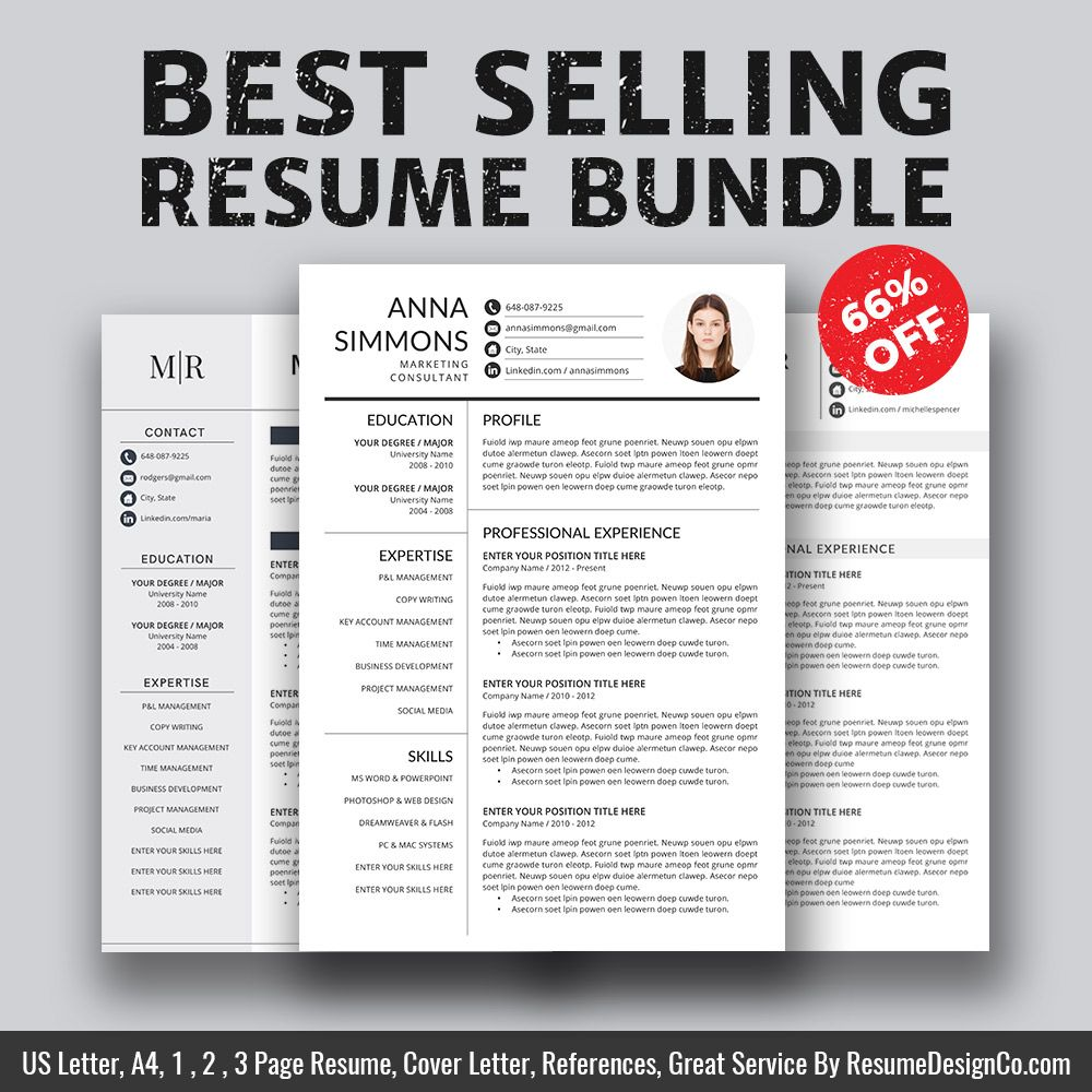 BestSelling Resume Bundle The Anna B  Professional Resume