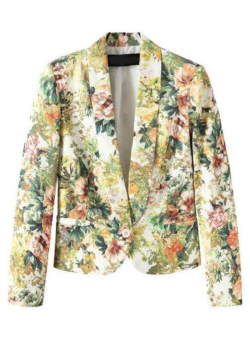 8408a816ff6 Blazer un botón estampado flores-Verde EUR28.69 | clothing to love ...