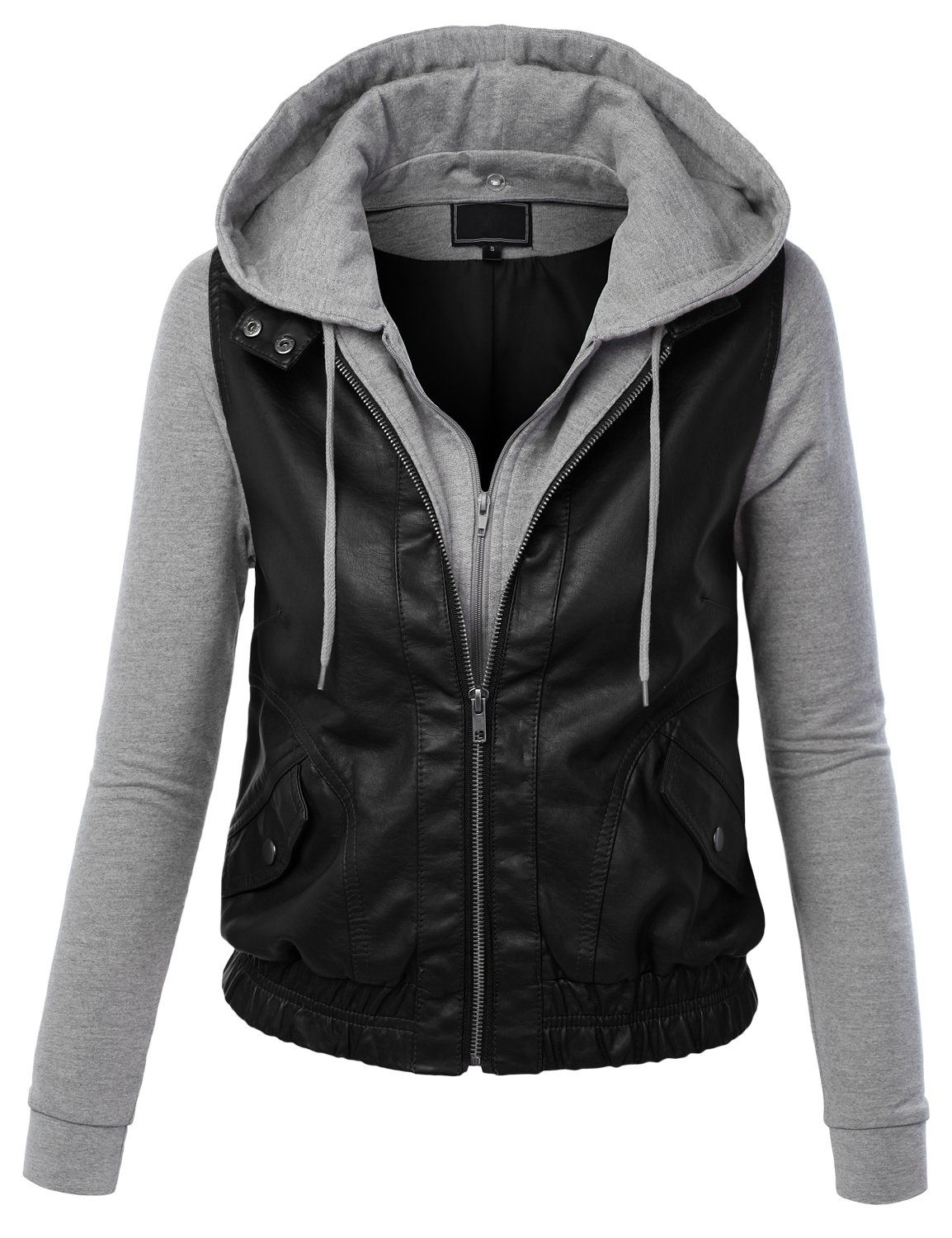 Lock and Love Womens Faux Leather Zip Up Moto Biker Jacket With ...