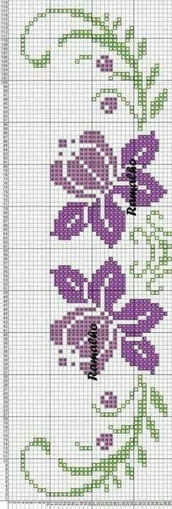 Flores Cruz Pinterest Toallas Punto De Cruz Punto De Cruz