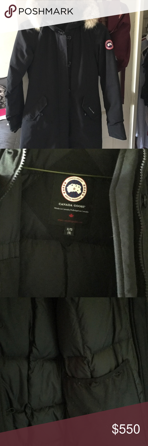 8f4314a3f3cf Brittania Parka - Big Kids size Xl (18) Gently used kids Canada goose in  the color black. The seam of the left pocket has a small hole as shown in  the ...