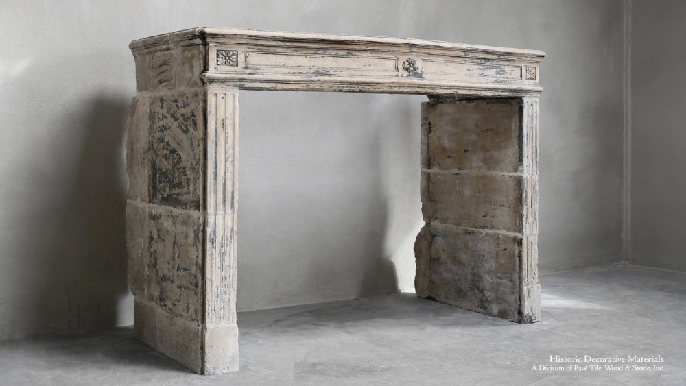 Antique French Stone Fireplace Mantel