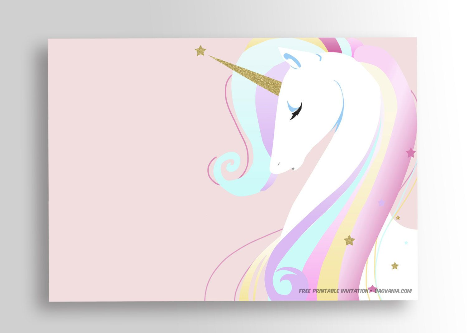 graphic regarding Free Printable Unicorn Template named Totally free Printable Golden Unicorn Birthday Invitation Occasion