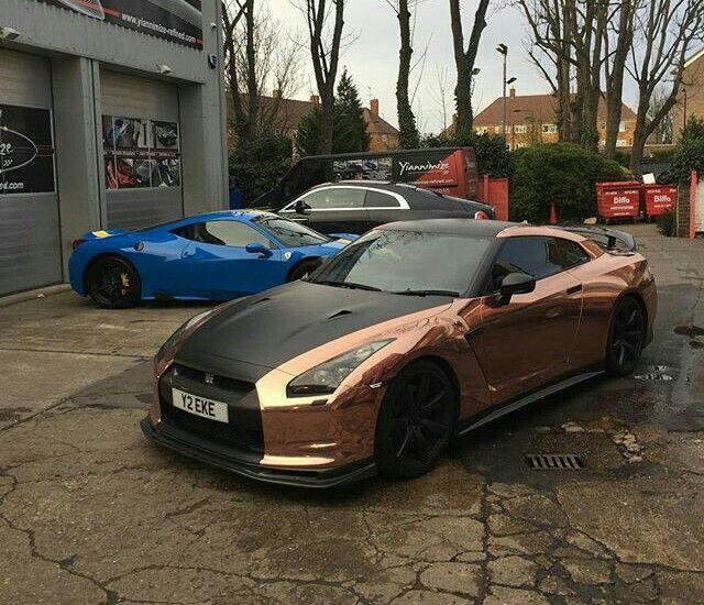 Rose Gold Chrome Wrap Nissan Gtr