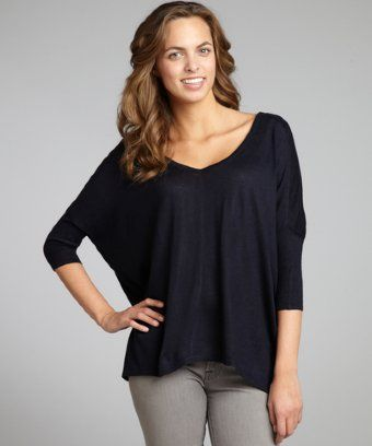 525 America navy cotton-cashmere boxy double-v-neck sweater