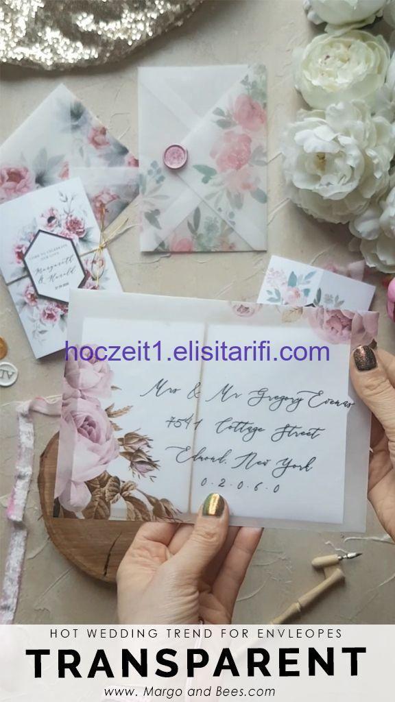 Heiße Hochzeitsdetails  transparente Umschläge mit Blumen Total romantisch