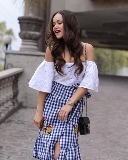 78ffac330c2ce top tumblr white top off the shoulder off the shoulder top crop tops skirt  gingham embroidered embroidered skirt midi skirt slit skirt spring skirt  spring ...