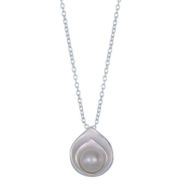 "This sterling silver necklace features a white pearl color round shaped with petal pusher shaped. The necklace comes on an 16"" single cable chain with spring ring clasp + 2"" extender. https://www.bomajewelry.com/international/en/stone/505-white-pearl-petal-pushers-necklace-.html"
