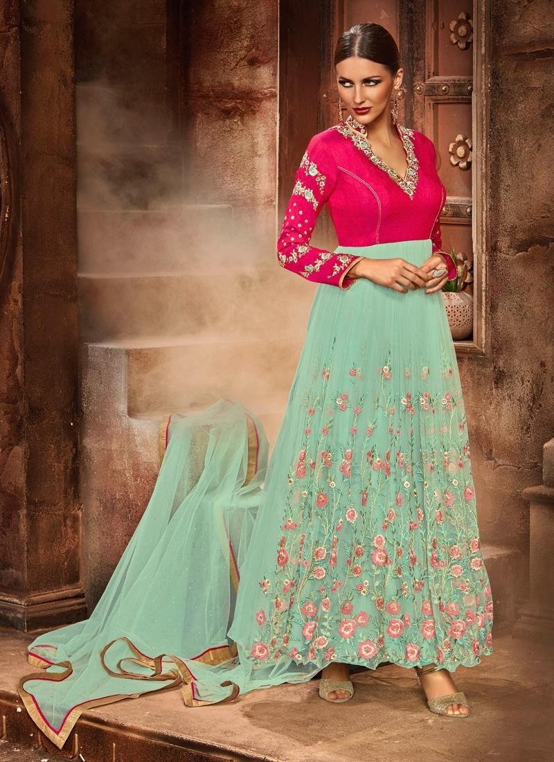 Girlish resham work net anarkali salwar kameez anarkali suits