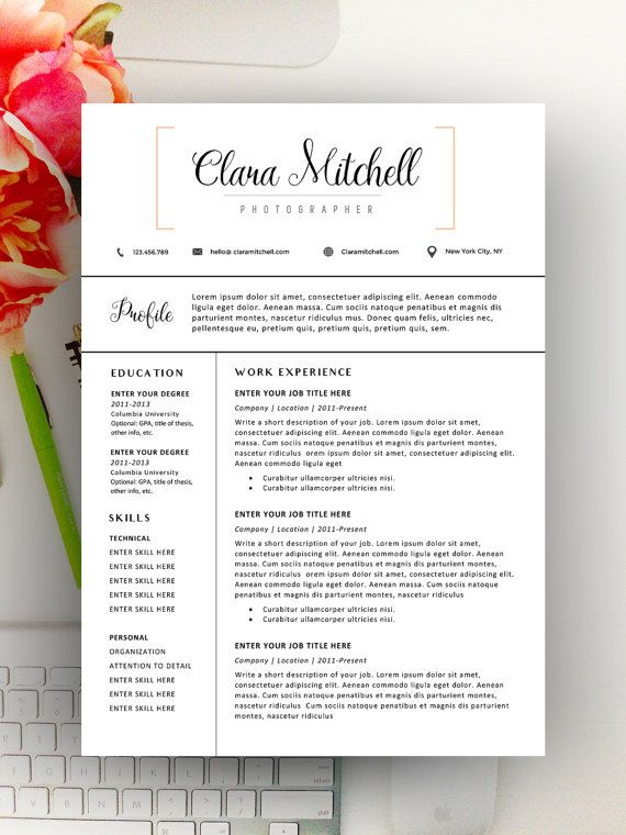 Modern Resume Template, Modern Resume Design for Word 1+2 page