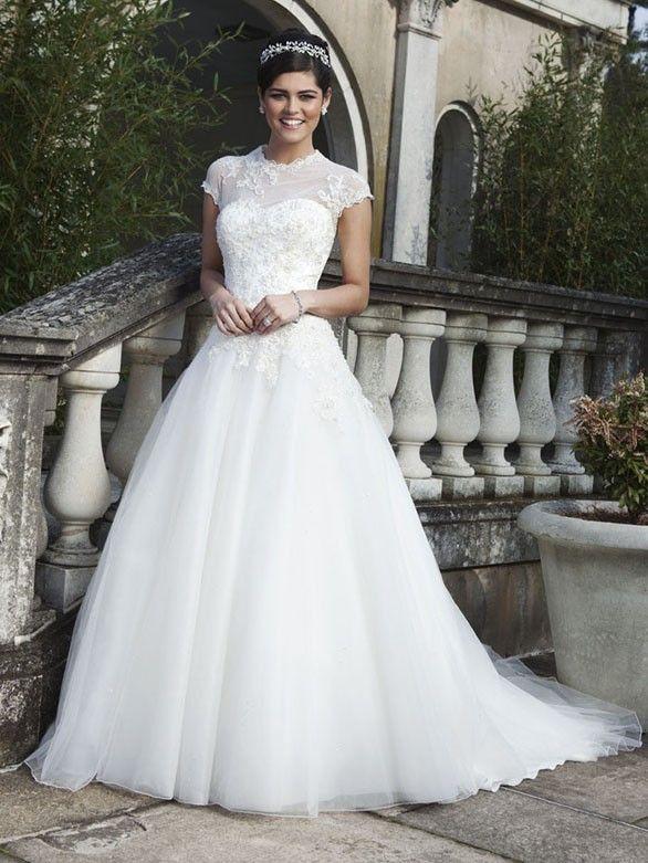 Märchenhafte Brautkleider Tüll Weiß mit Bolero | Brautkleider ...