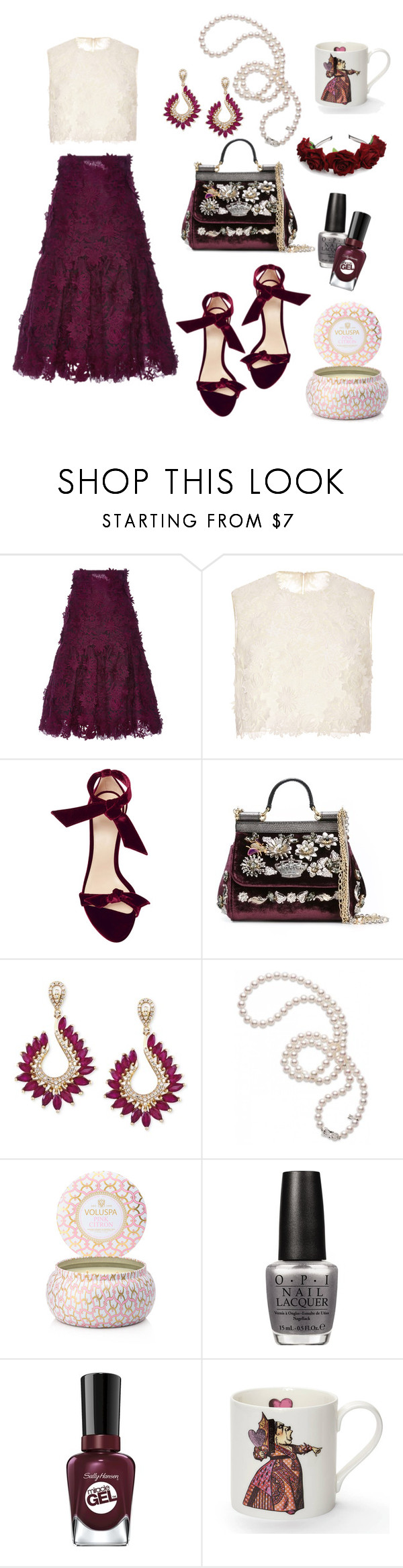 """""""two piece dress"""" by art-gives-me-life ❤ liked on Polyvore featuring Costarellos, Alexandre Birman, Dolce&Gabbana, Effy Jewelry, Mikimoto, Voluspa, OPI, Sally Hansen, Mrs Moore and contestentry"""