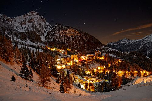 christmas evening mountains village