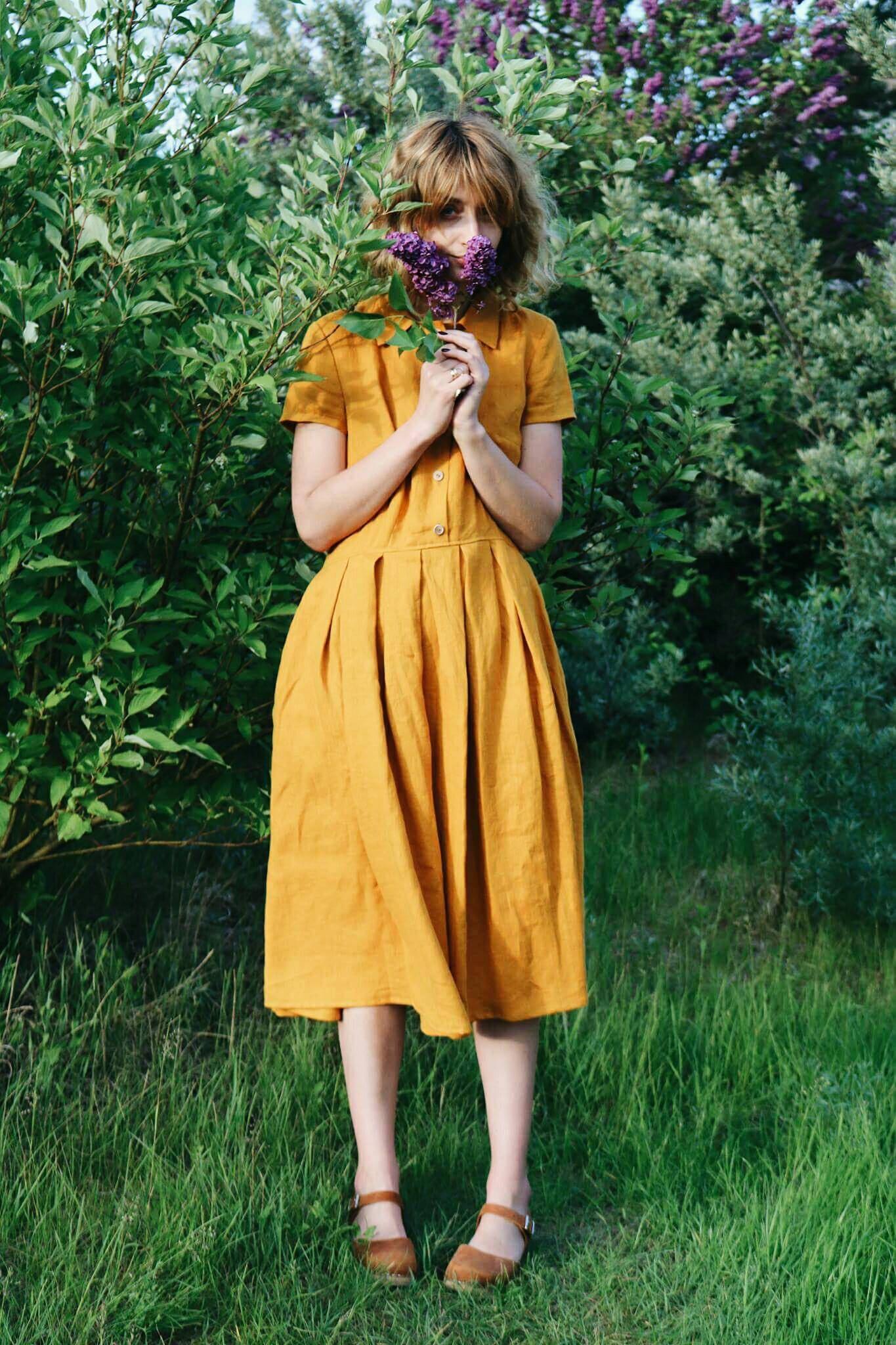 Linen dress mustard linen shirt dress short sleeved