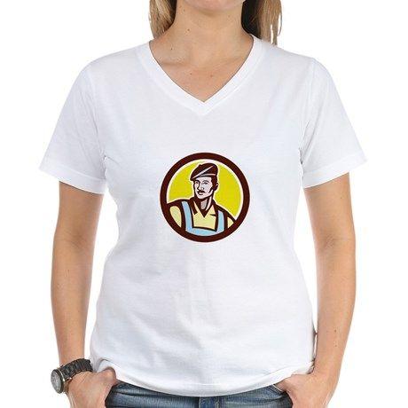 French Artisan Wearing Beret Circle Retro T-Shirt