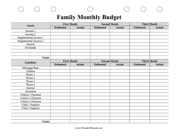 This Printable Family Budget Planner Estimates Three Months Of
